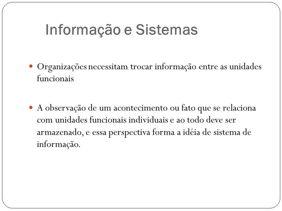 Informação e Sistemas Organizações necessitam trocar informação entre as unidades funcionais.