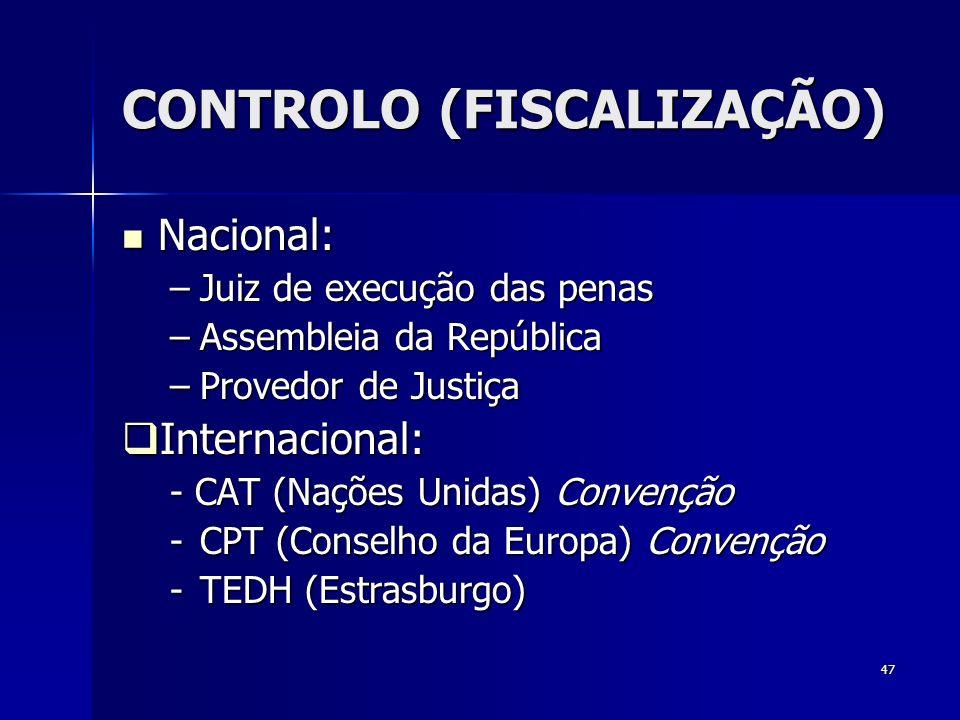 CONTROLO (FISCALIZAÇÃO)