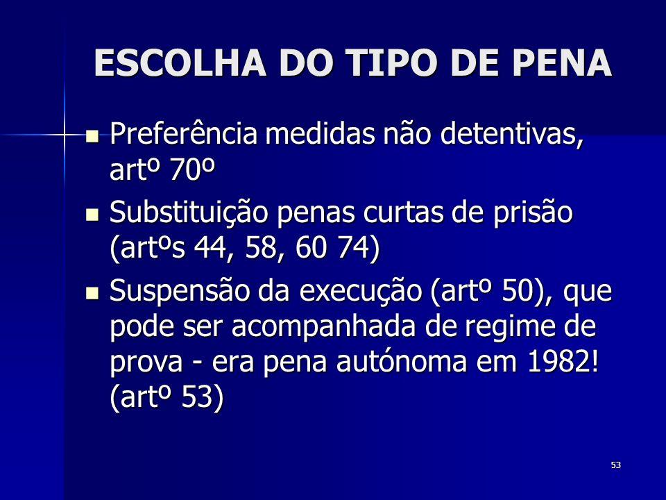 ESCOLHA DO TIPO DE PENA Preferência medidas não detentivas, artº 70º