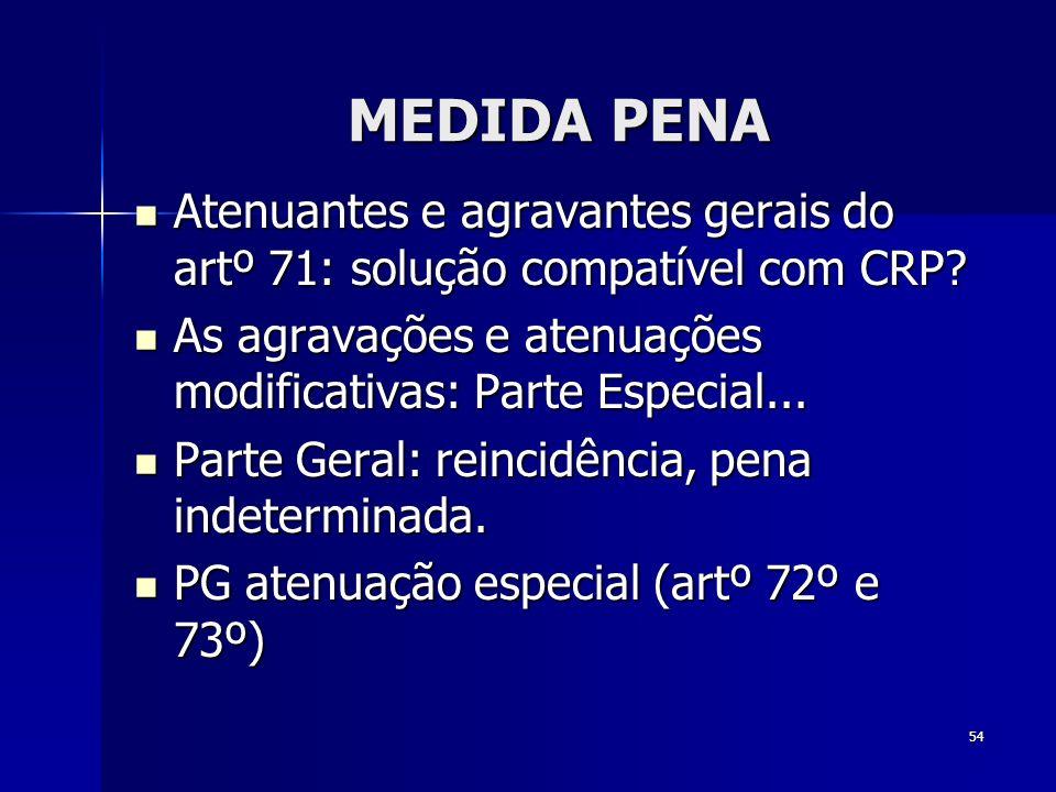 MEDIDA PENA Atenuantes e agravantes gerais do artº 71: solução compatível com CRP As agravações e atenuações modificativas: Parte Especial...