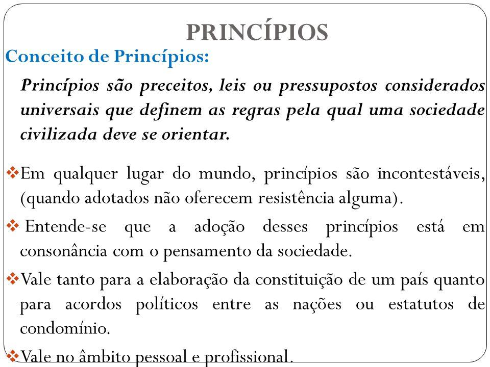 PRINCÍPIOS Conceito de Princípios: