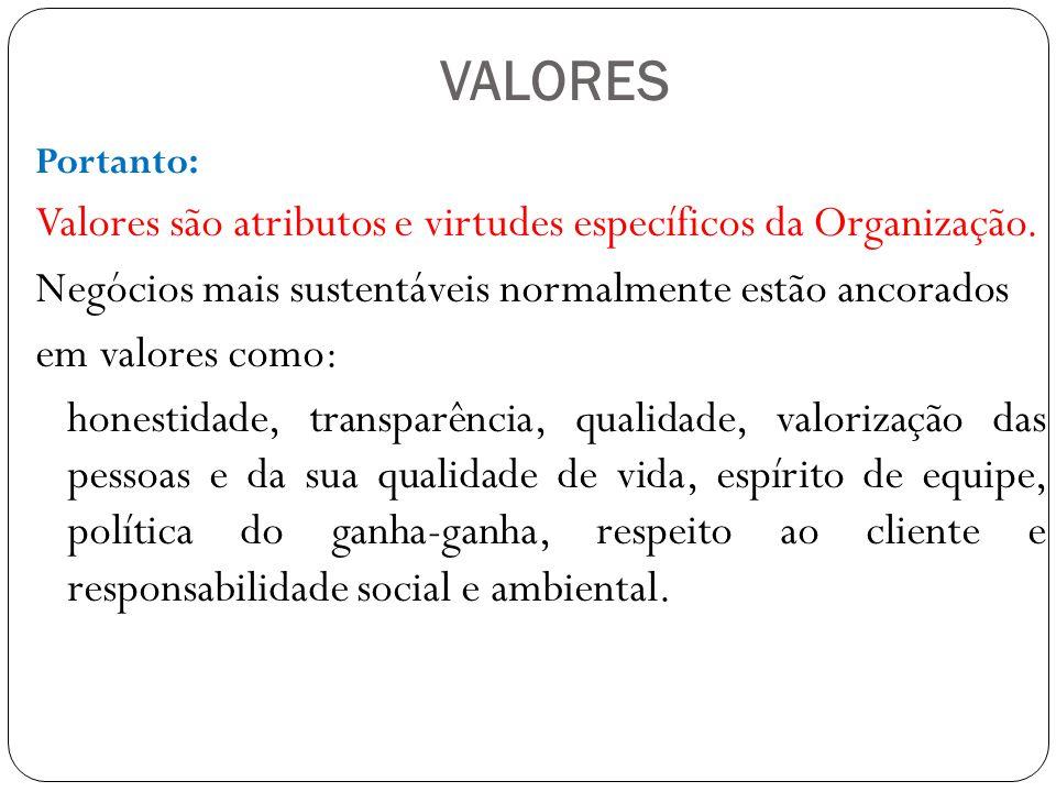 VALORES Valores são atributos e virtudes específicos da Organização.