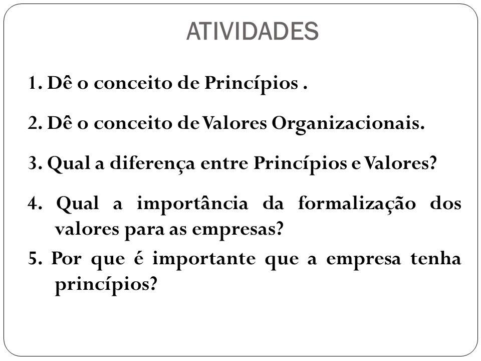 ATIVIDADES 1. Dê o conceito de Princípios .