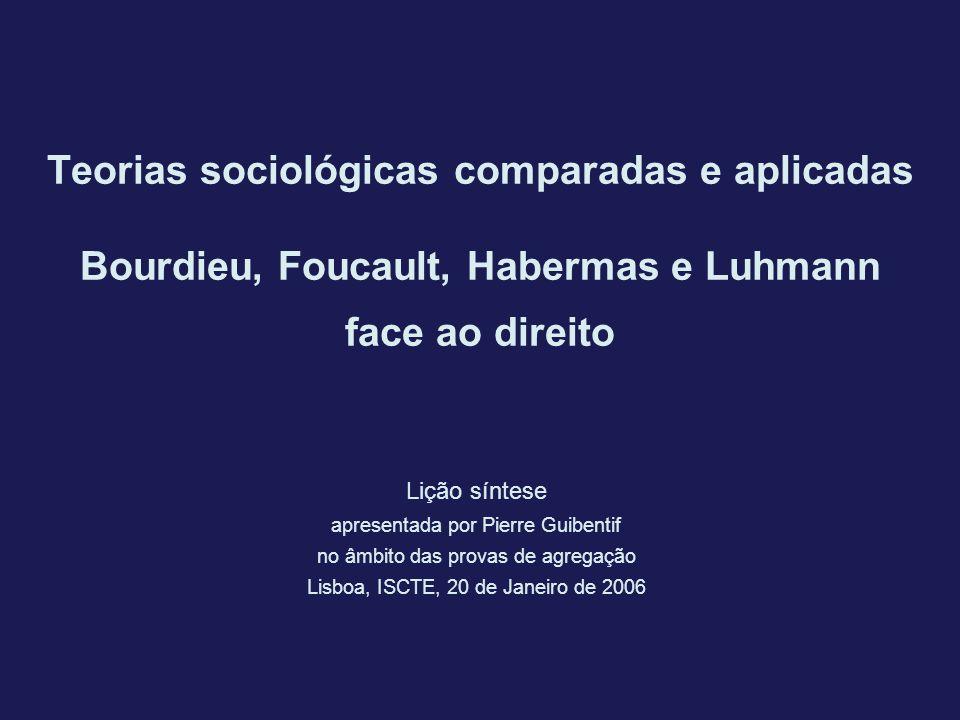 Teorias sociológicas comparadas e aplicadas Bourdieu, Foucault, Habermas e Luhmann face ao direito