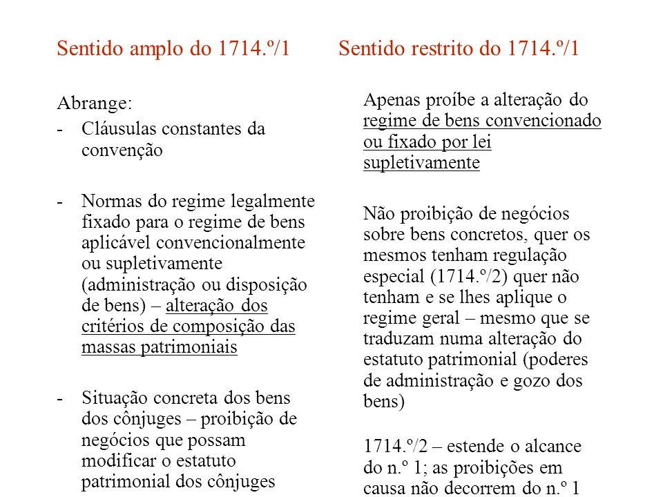 Sentido amplo do 1714.º/1 Sentido restrito do 1714.º/1 Abrange: