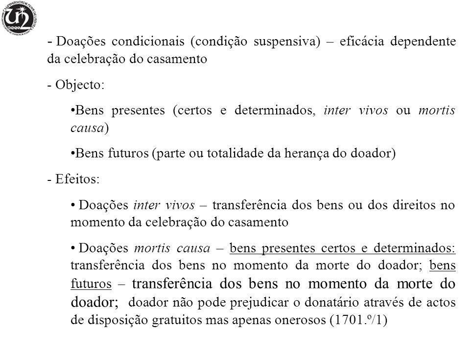 Doações condicionais (condição suspensiva) – eficácia dependente da celebração do casamento