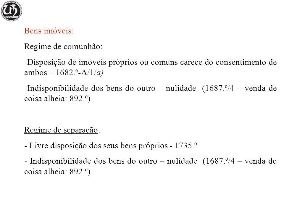 Bens imóveis: Regime de comunhão: Disposição de imóveis próprios ou comuns carece do consentimento de ambos – 1682.º-A/1/a)