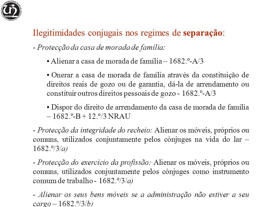 Ilegitimidades conjugais nos regimes de separação: