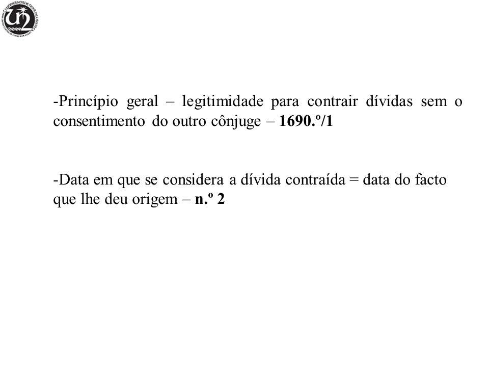 Princípio geral – legitimidade para contrair dívidas sem o consentimento do outro cônjuge – 1690.º/1