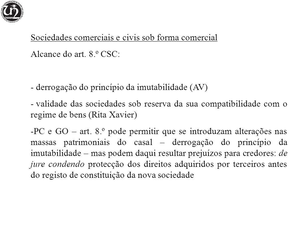 Sociedades comerciais e civis sob forma comercial