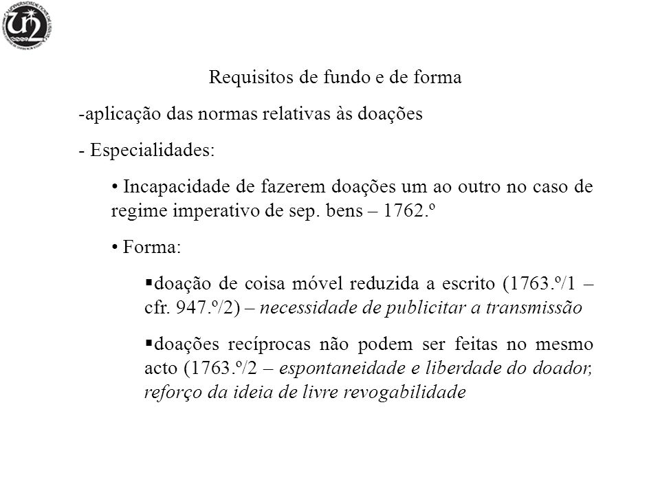 Requisitos de fundo e de forma