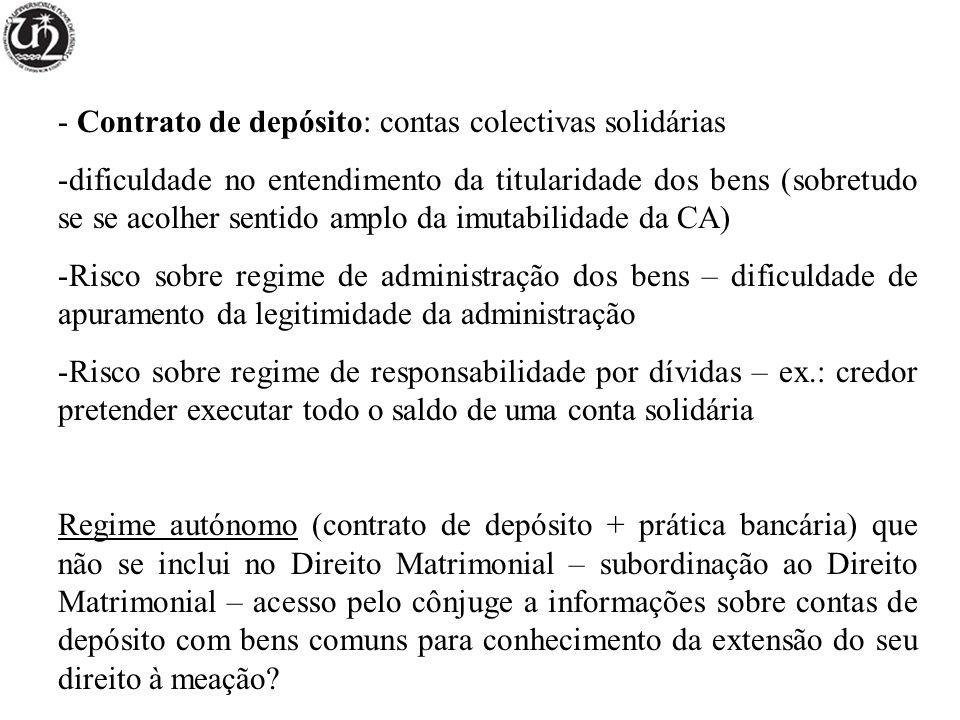 Contrato de depósito: contas colectivas solidárias