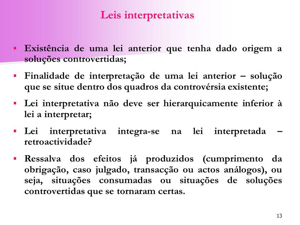 Leis interpretativas Existência de uma lei anterior que tenha dado origem a soluções controvertidas;