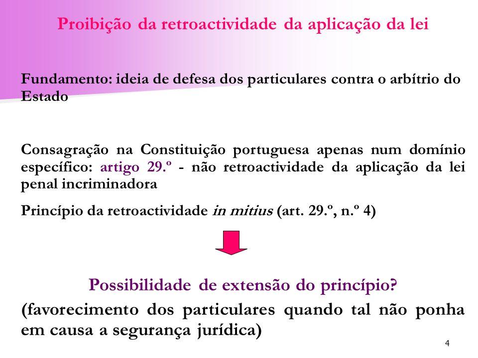 Proibição da retroactividade da aplicação da lei