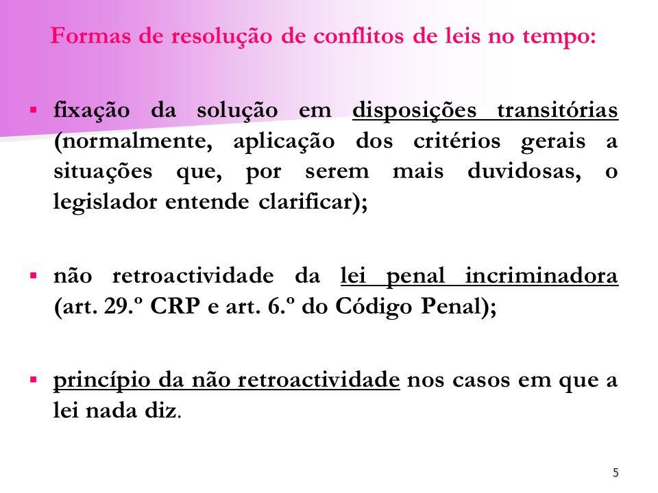 Formas de resolução de conflitos de leis no tempo: