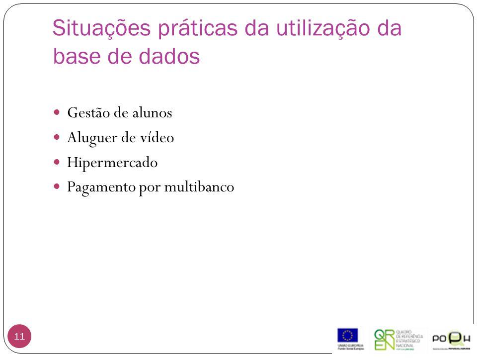 Situações práticas da utilização da base de dados