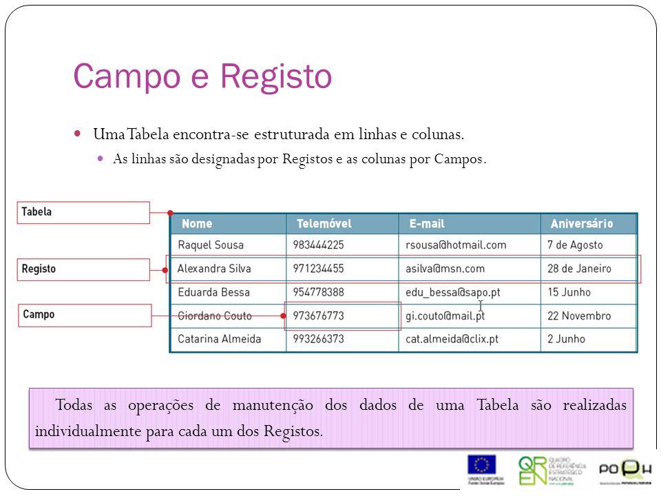 Campo e Registo Uma Tabela encontra-se estruturada em linhas e colunas. As linhas são designadas por Registos e as colunas por Campos.