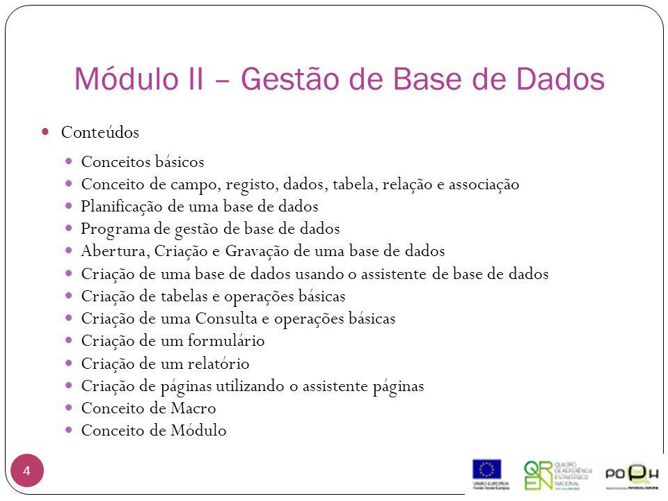Módulo II – Gestão de Base de Dados