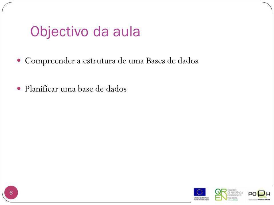 Objectivo da aula Compreender a estrutura de uma Bases de dados