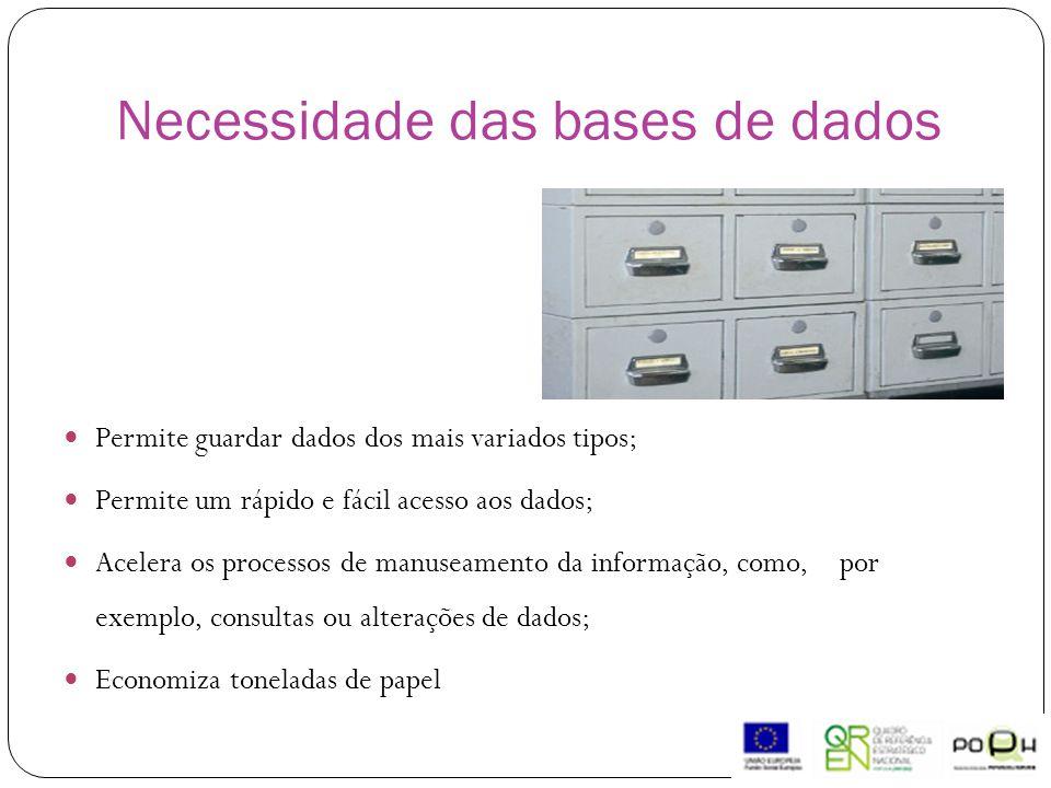 Necessidade das bases de dados