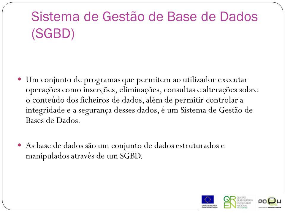 Sistema de Gestão de Base de Dados (SGBD)