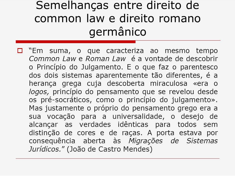 Semelhanças entre direito de common law e direito romano germânico