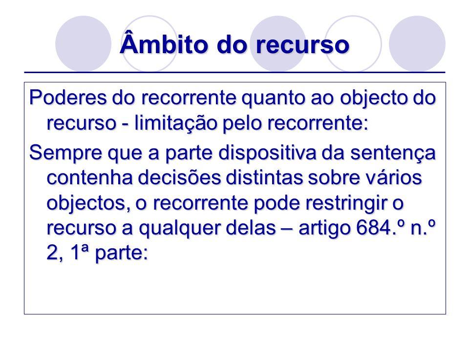 Âmbito do recurso Poderes do recorrente quanto ao objecto do recurso - limitação pelo recorrente: