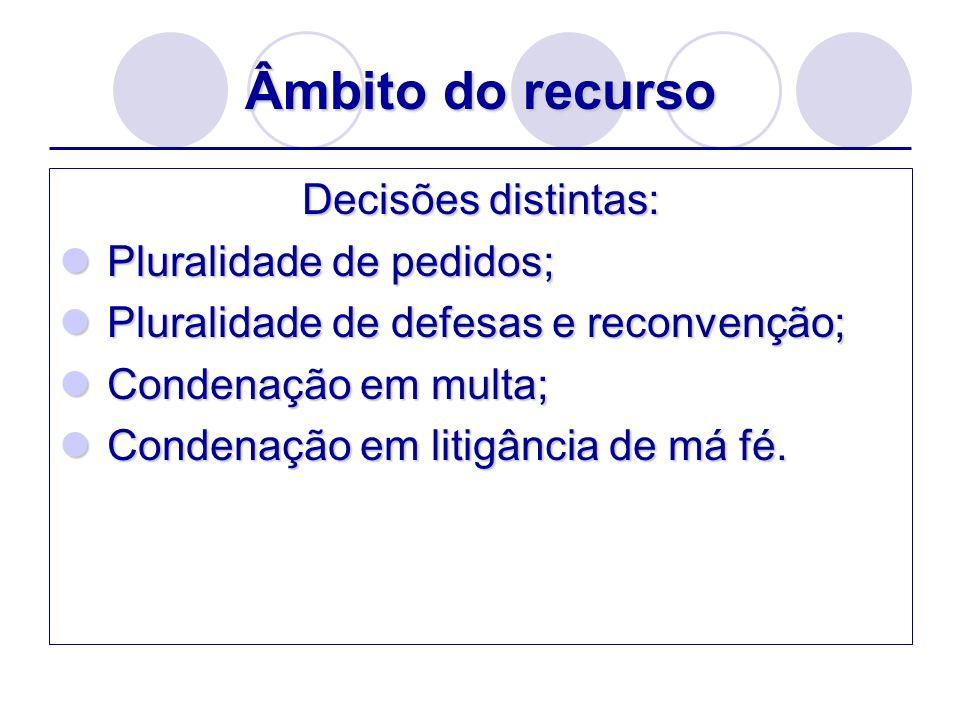 Âmbito do recurso Decisões distintas: Pluralidade de pedidos;