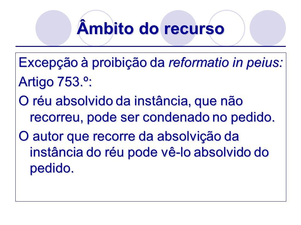 Âmbito do recurso Excepção à proibição da reformatio in peius: