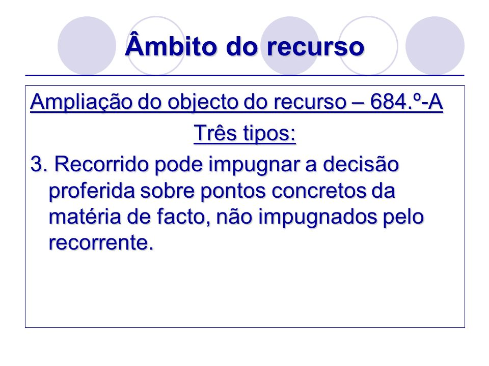 Âmbito do recurso Ampliação do objecto do recurso – 684.º-A