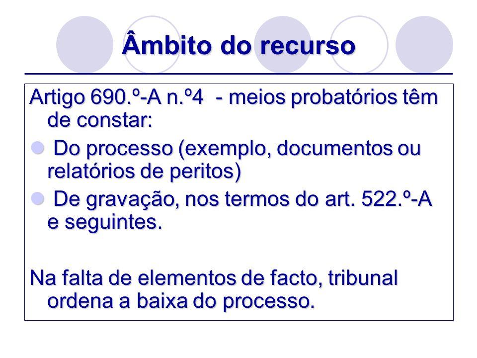 Âmbito do recursoArtigo 690.º-A n.º4 - meios probatórios têm de constar: Do processo (exemplo, documentos ou relatórios de peritos)