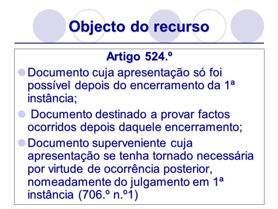 Objecto do recurso Artigo 524.º