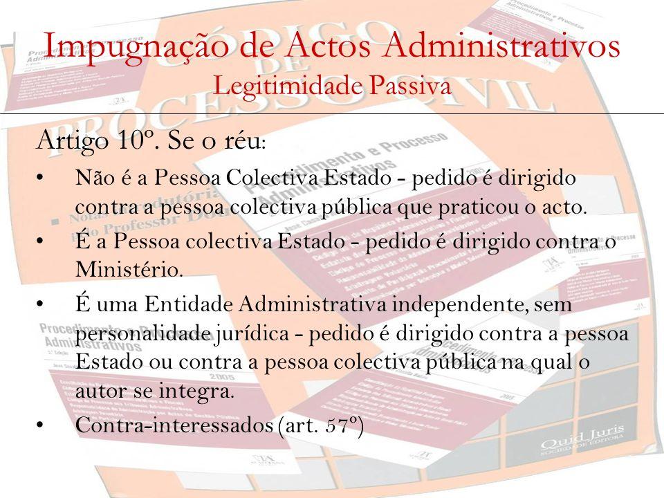 Impugnação de Actos Administrativos Legitimidade Passiva