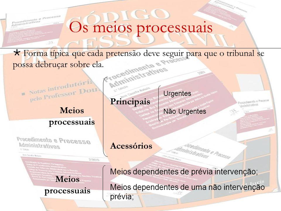 Os meios processuais  Forma típica que cada pretensão deve seguir para que o tribunal se possa debruçar sobre ela.