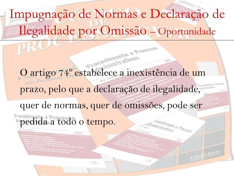 Impugnação de Normas e Declaração de Ilegalidade por Omissão – Oportunidade