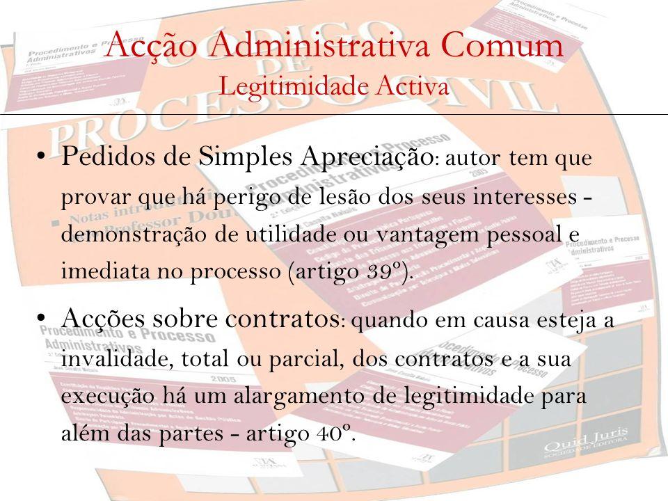 Acção Administrativa Comum Legitimidade Activa