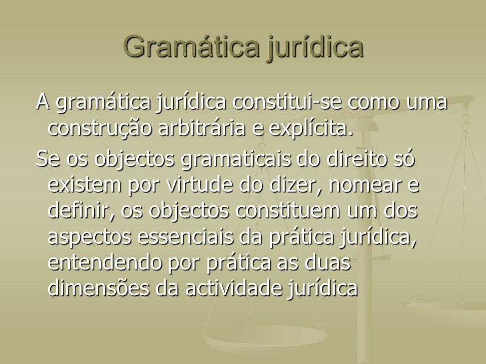 Gramática jurídica A gramática jurídica constitui-se como uma construção arbitrária e explícita.
