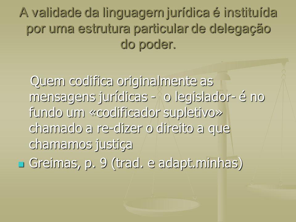 A validade da linguagem jurídica é instituída por uma estrutura particular de delegação do poder.
