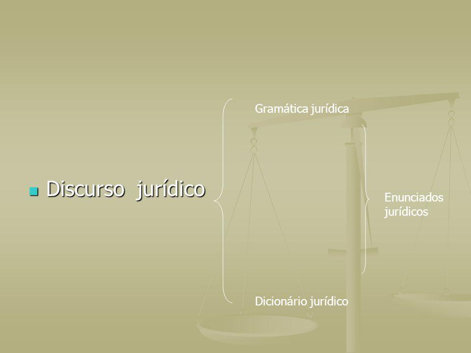Discurso jurídico Gramática jurídica Enunciados jurídicos