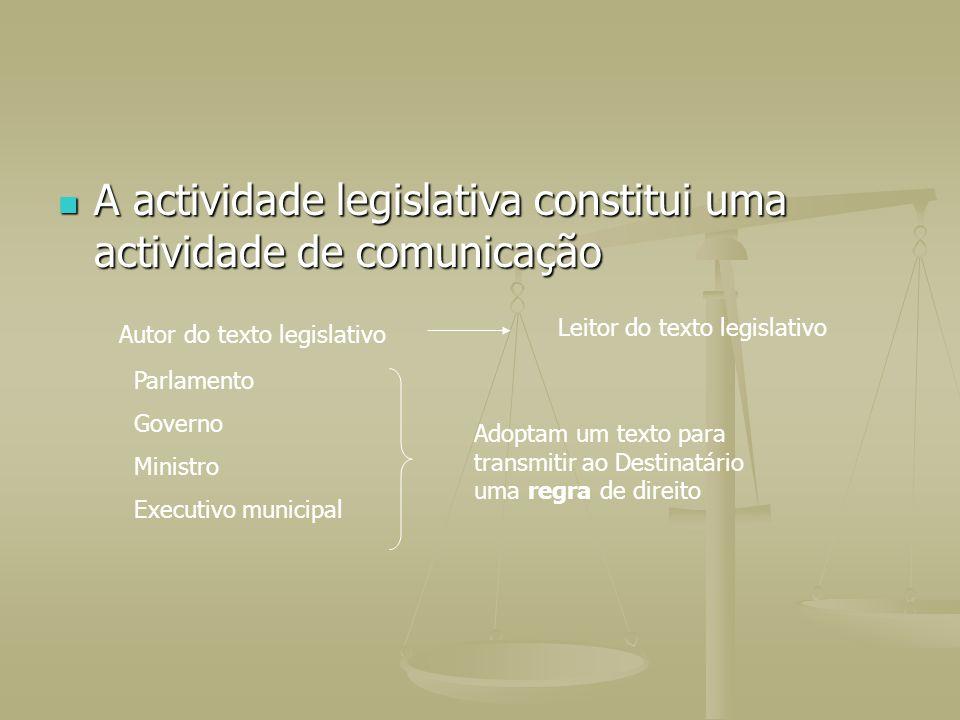 A actividade legislativa constitui uma actividade de comunicação
