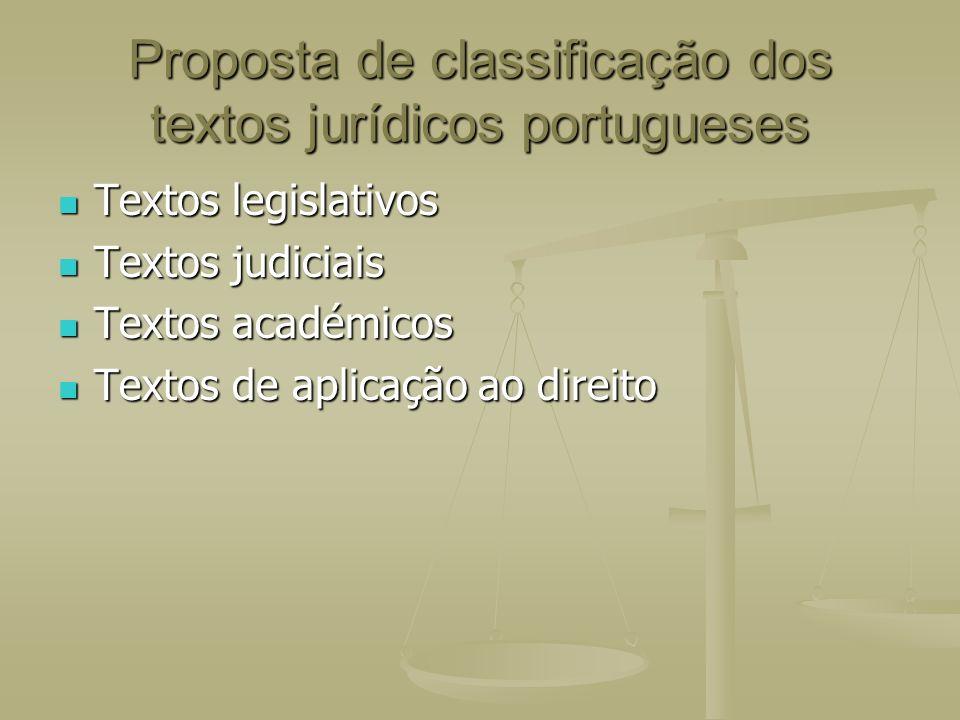 Proposta de classificação dos textos jurídicos portugueses