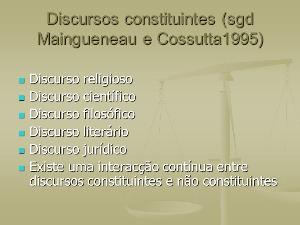 Discursos constituintes (sgd Maingueneau e Cossutta1995)