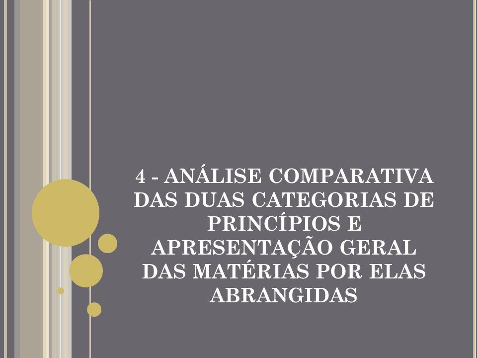 4 - ANÁLISE COMPARATIVA DAS DUAS CATEGORIAS DE PRINCÍPIOS E APRESENTAÇÃO GERAL DAS MATÉRIAS POR ELAS ABRANGIDAS