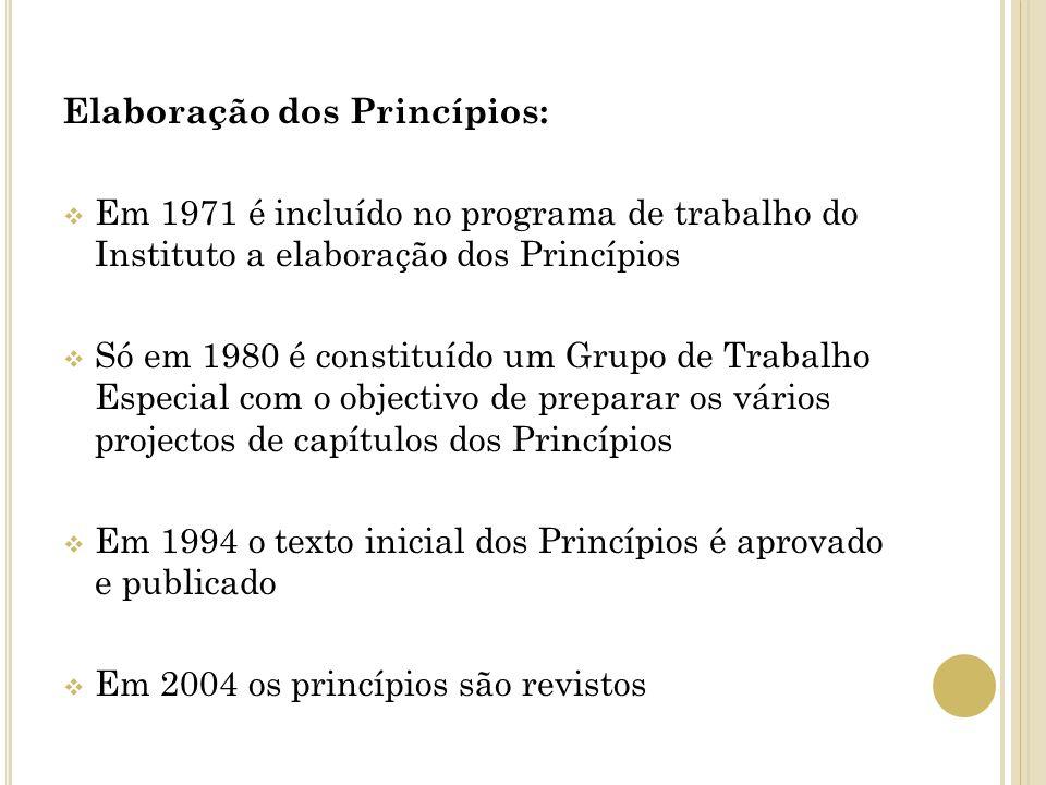 Elaboração dos Princípios: