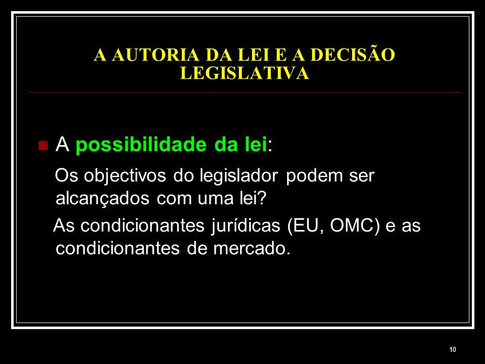 A AUTORIA DA LEI E A DECISÃO LEGISLATIVA