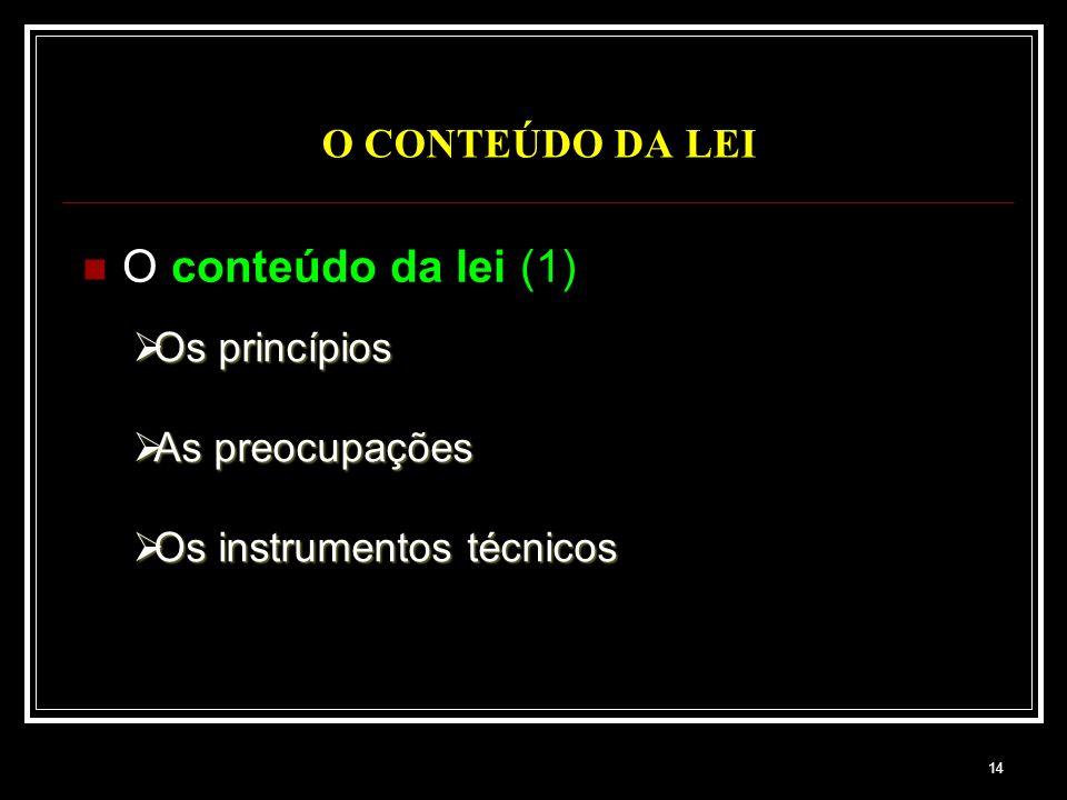 O conteúdo da lei (1) O CONTEÚDO DA LEI Os princípios As preocupações