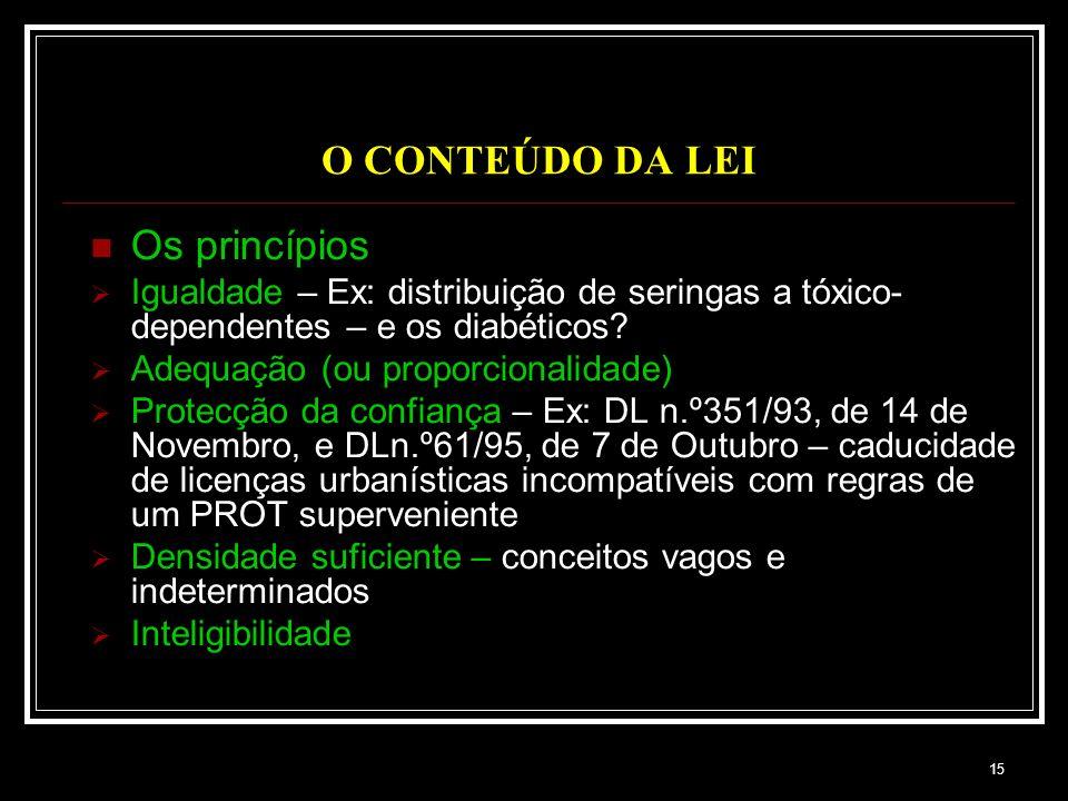 O CONTEÚDO DA LEI Os princípios