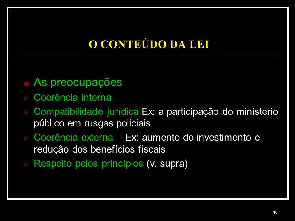 O CONTEÚDO DA LEI As preocupações Coerência interna