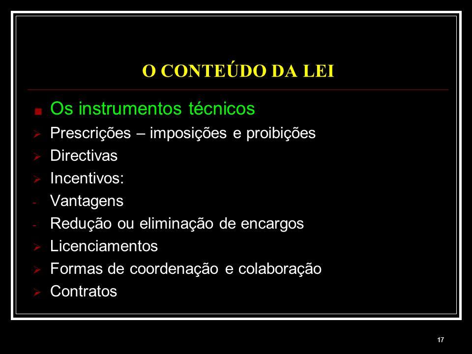 Os instrumentos técnicos