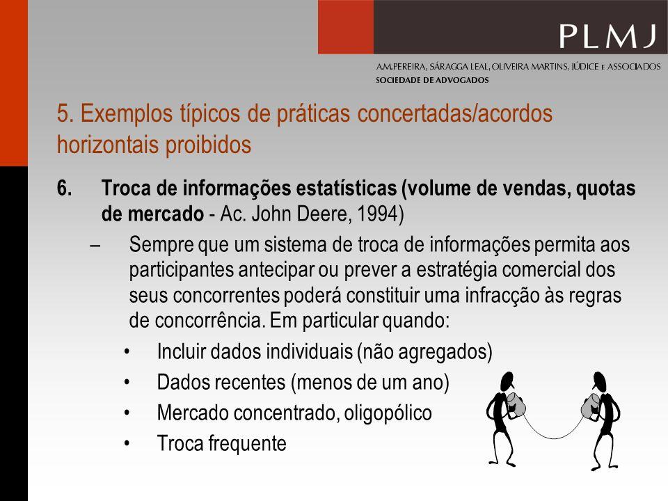 5. Exemplos típicos de práticas concertadas/acordos horizontais proibidos